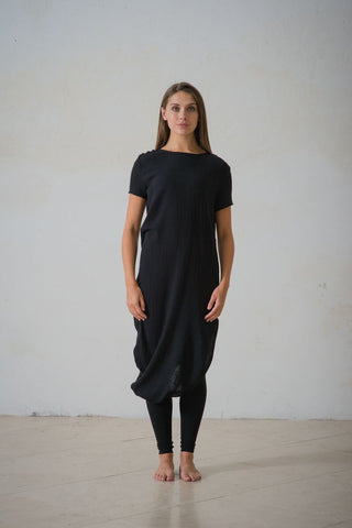 CollardManson Asymmetric Cotton Dress - Black