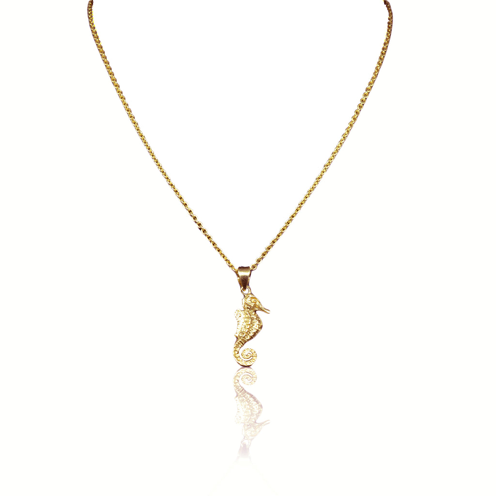 925 Silver Seahorse Necklace - rose gold plated