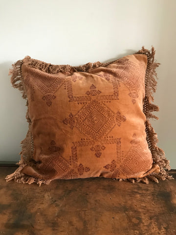 Velvet Printed Cushion - Peach