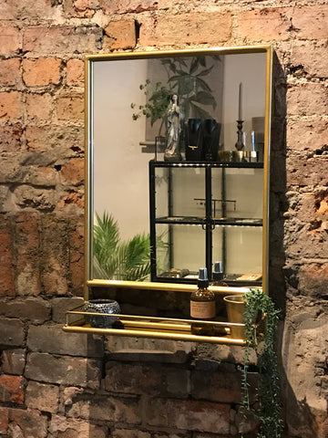 Maitri Gold tone Mirror with shelf