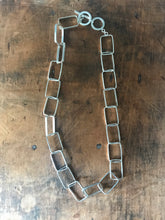 Rectangle link necklace - silver