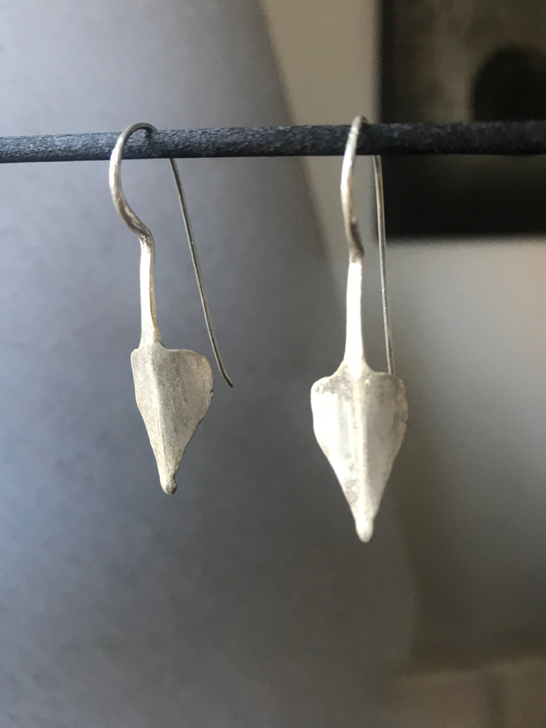 Tribal earrings - brushed silver
