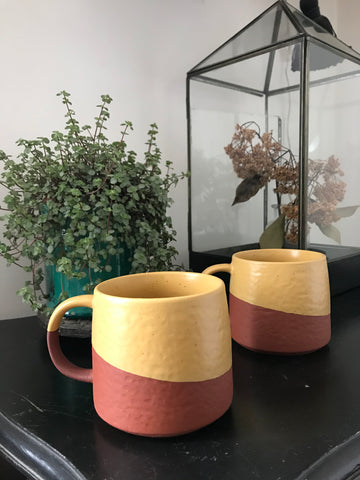 TWO TONE MUG Yellow, terra cotta