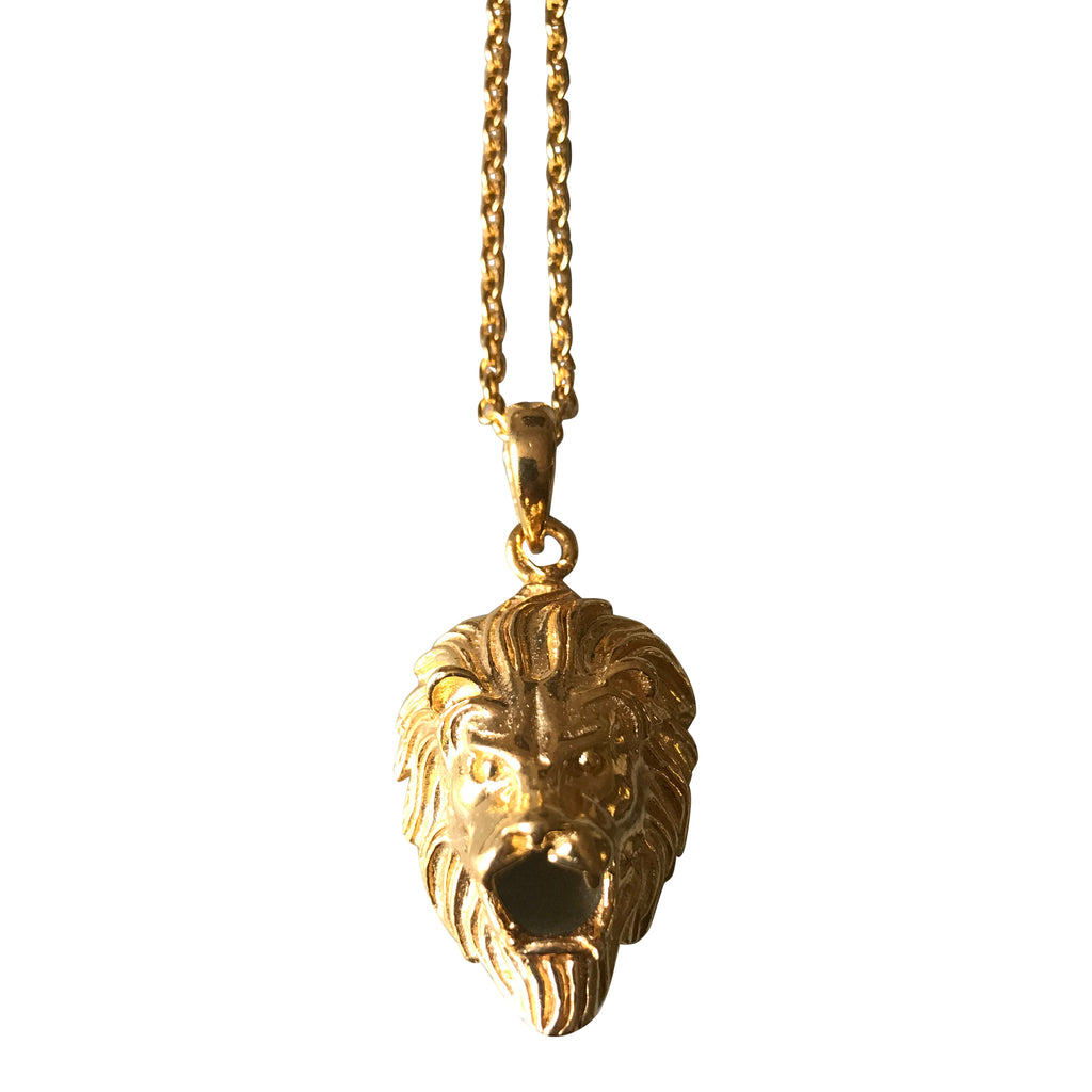 Gold plated 925 Silver lion necklace