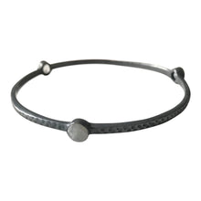 WDTS Oxidised 925 silver hammered tri stone bangle