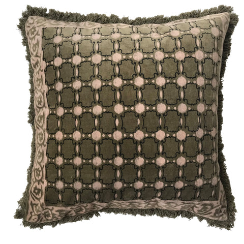 Velvet Printed Cushion - Nude/Olive