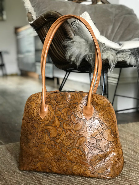 CollardManson Bowling Bag - Tan embossed floral