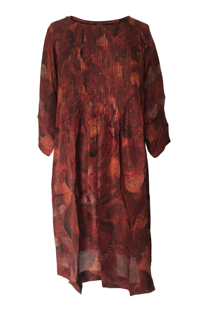 Yavi Raga Silk Dress Red YC9D