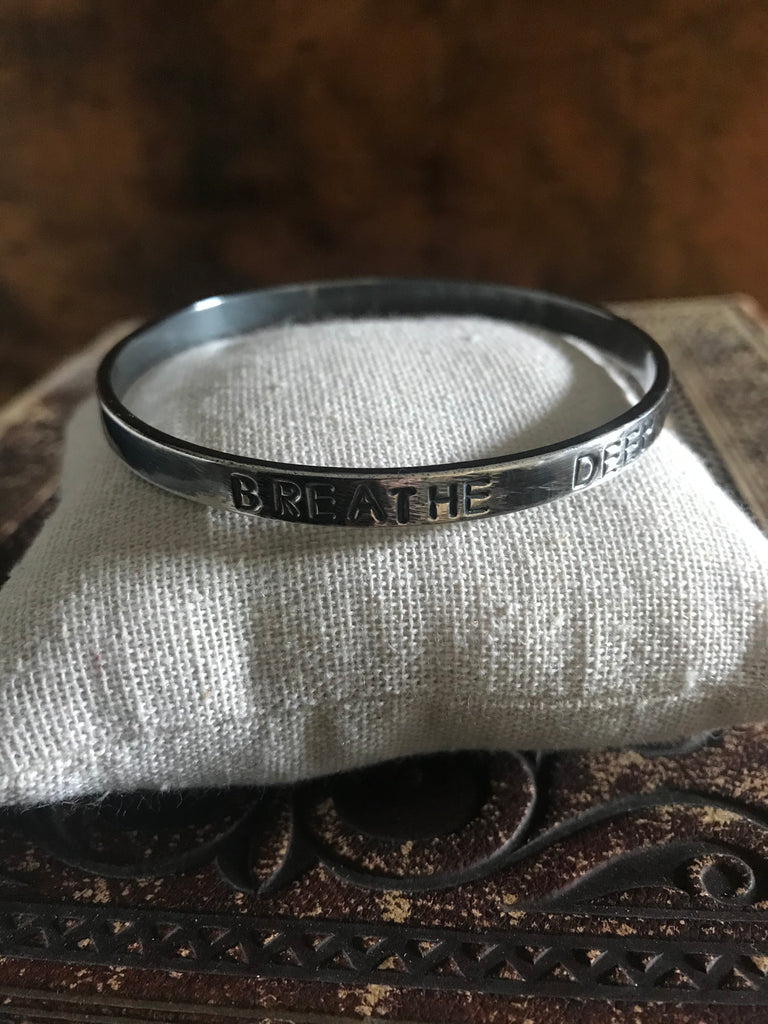WDTS Oxidised Silver bangle - BREATHE DEEP