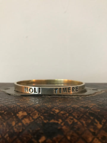 WDTS Oxidised & gold plated Silver bangle - NOLI TIMERE