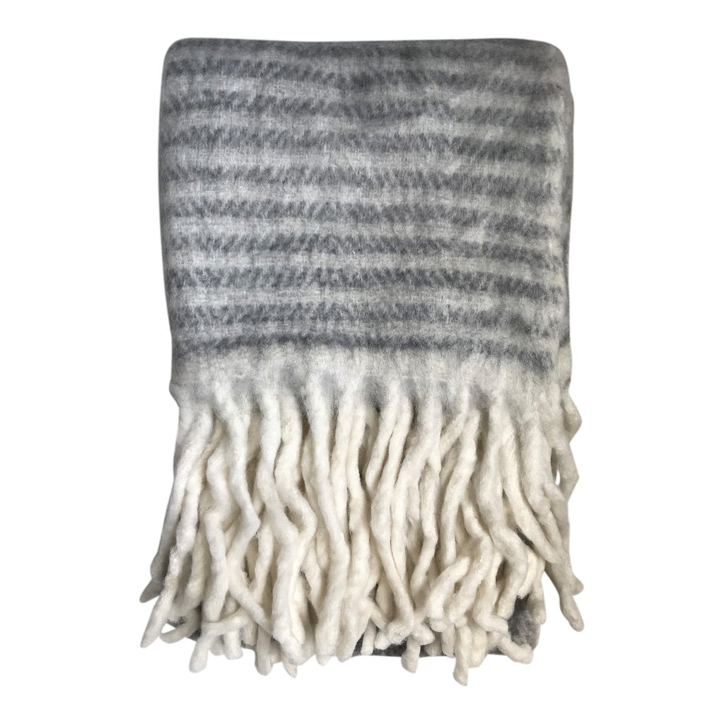 Maitri Throw Grey stripe edge
