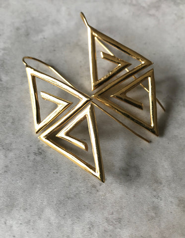 Gold plated Aztec Earrings