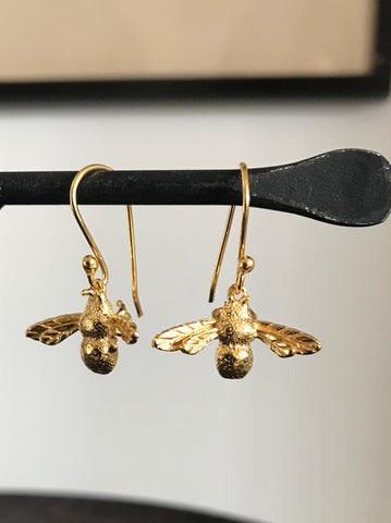 Gold plated Bee Drop Earrings