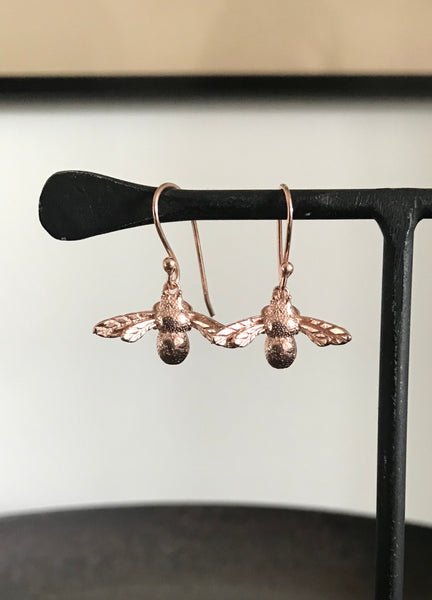 Rose Gold plated Bee Drop Earrings