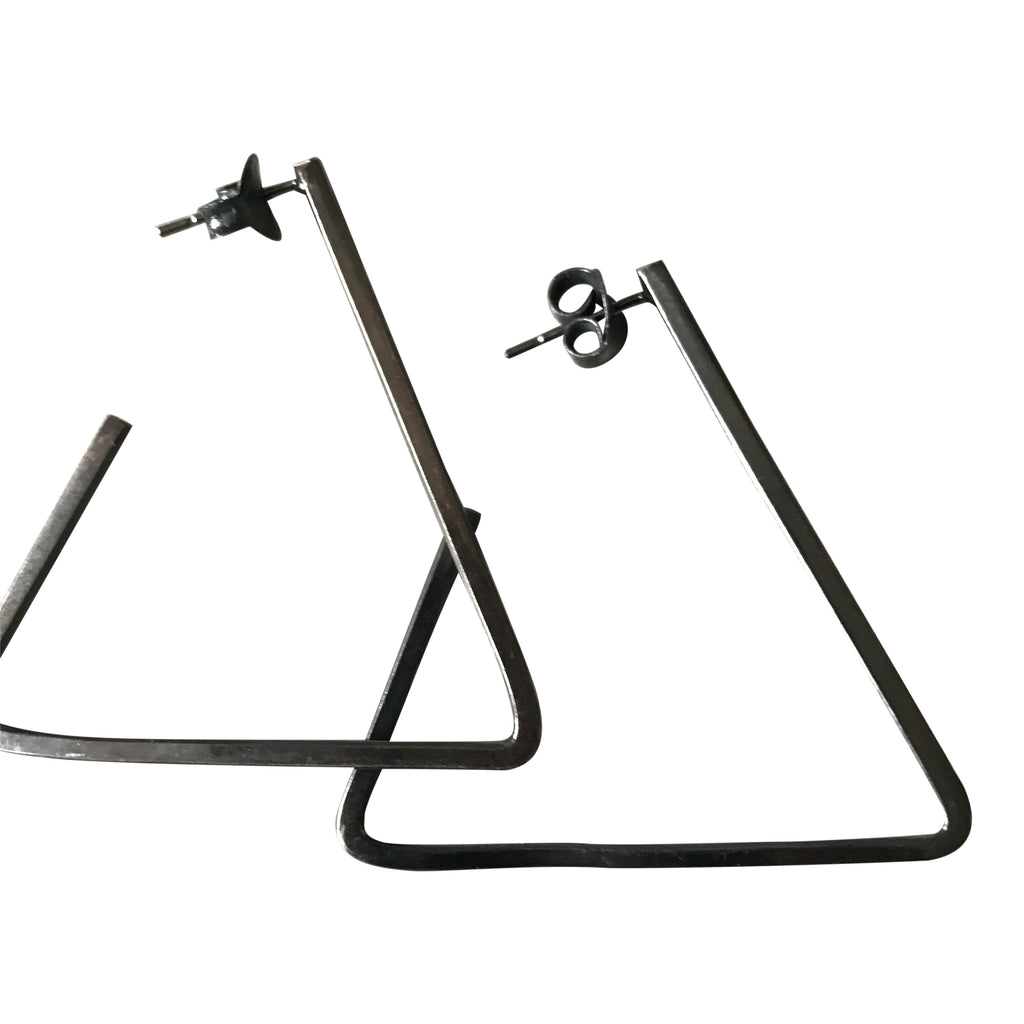 925 Silver Triangular Earrings - Oxidised