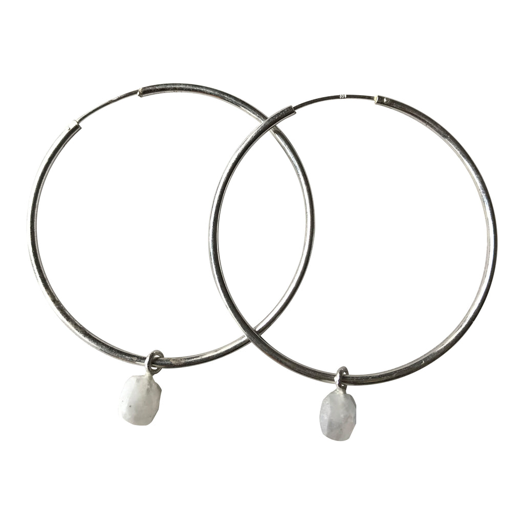 925 Silver Rainbow Moonstone Hoop Earrings