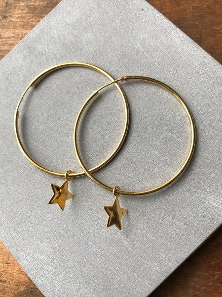 925 Silver Star Hoop Earrings - Gold