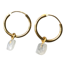 925 Silver Small Rainbow Moonstone Hoop Earrings - Gold