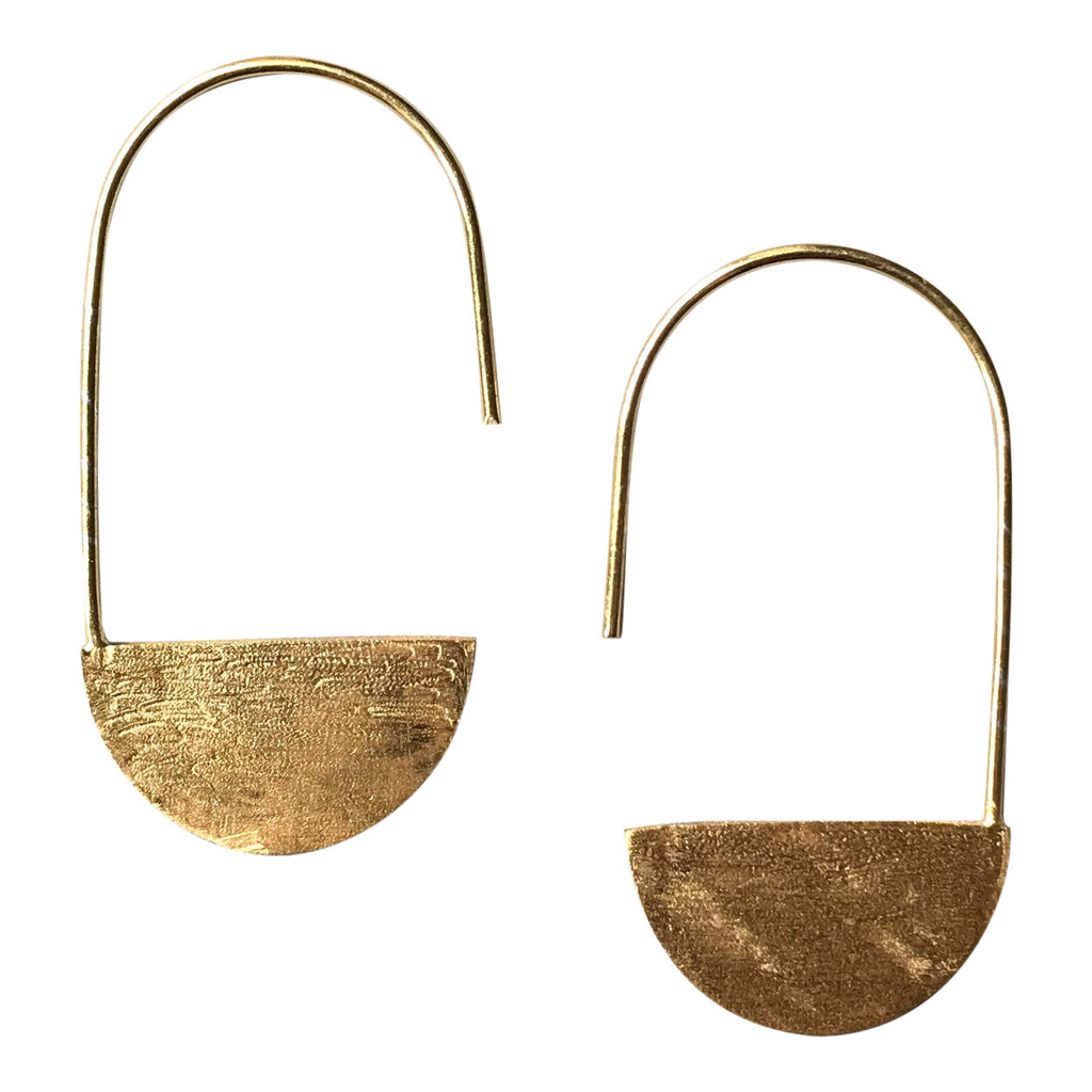 925 Silver Semi Circle Earrings - Gold