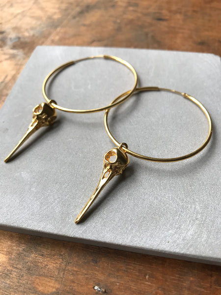 925 Silver Bird Skull Hoop Earrings - Gold