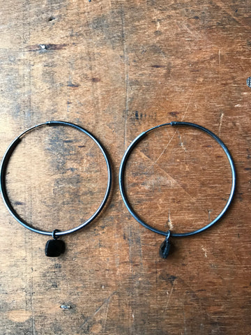 Black Onyx Hoop Earrings - Oxidised