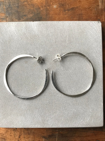 925 Silver Irregular Medium Hoops