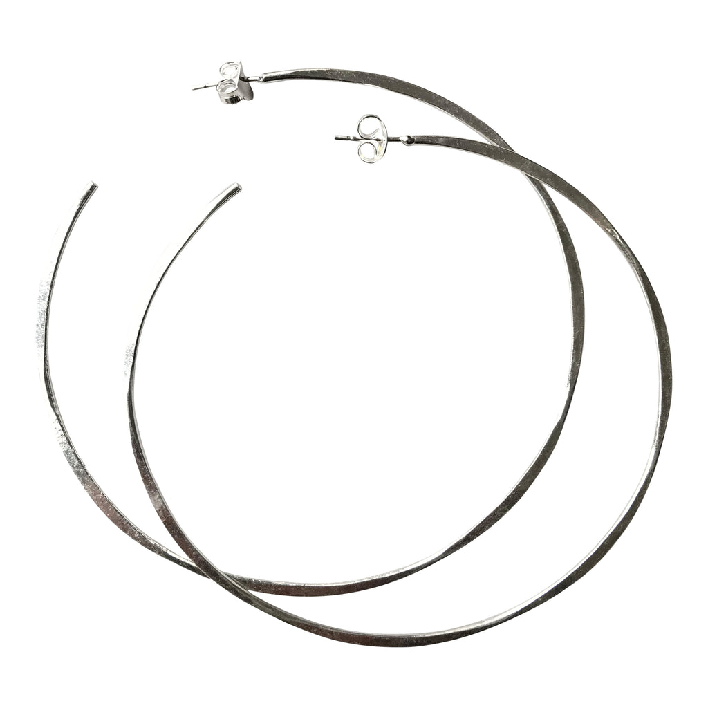 925 Silver Irregular Large Hoops