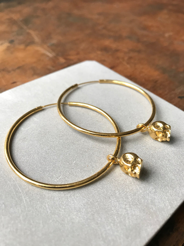Gold Plated Silver Skull Hoop Earrings