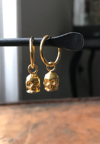 Gold Plated Silver Small Skull Hoop Earrings