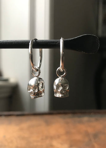 925 Silver Small Skull Hoop Earrings