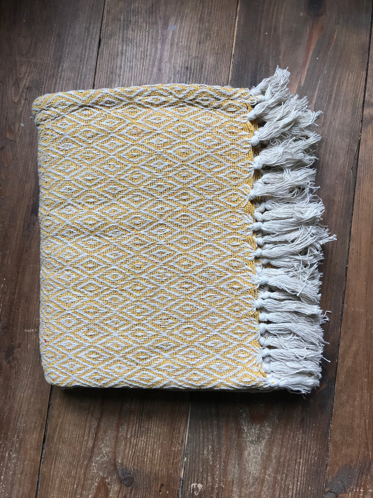 Cotton Throw- dusty yellow diamond print