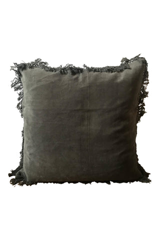 Velvet cushion with fringe - Ash