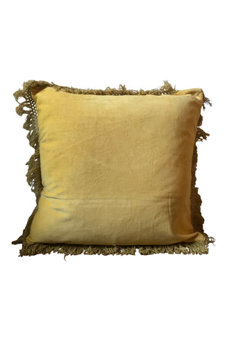 Velvet cushion with fringe - Sunshine