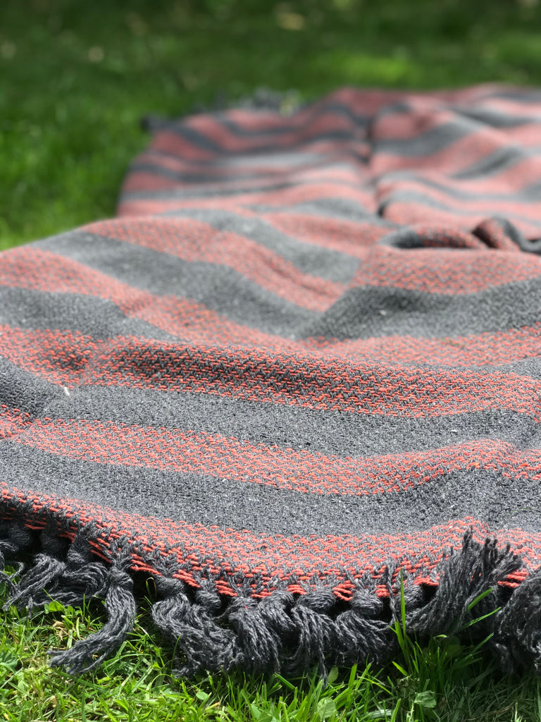 Cotton Throw- Charcoal and red