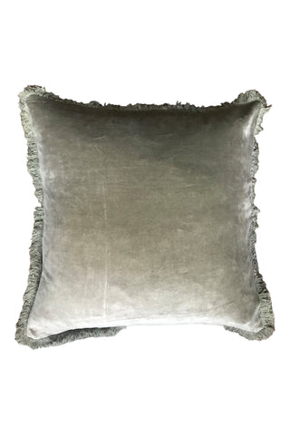Velvet cushion with fringe - Olive