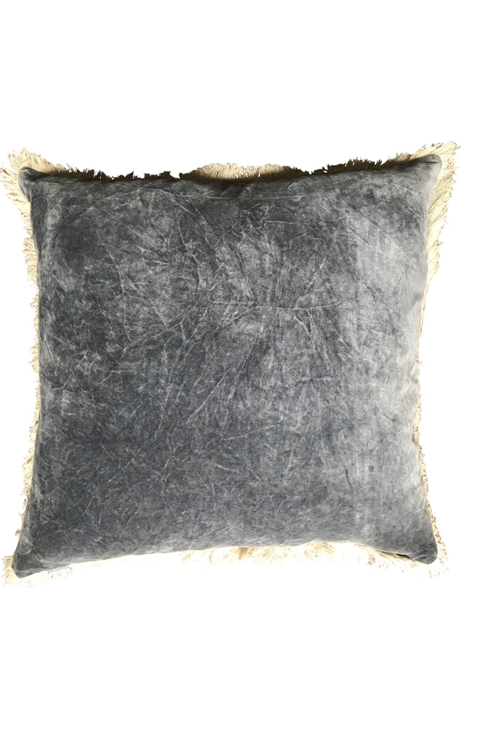 Stonewashed Velvet Cushion - Charcoal 60x60
