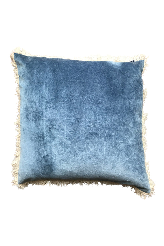 Stonewashed Velvet Cushion - blue 60x60
