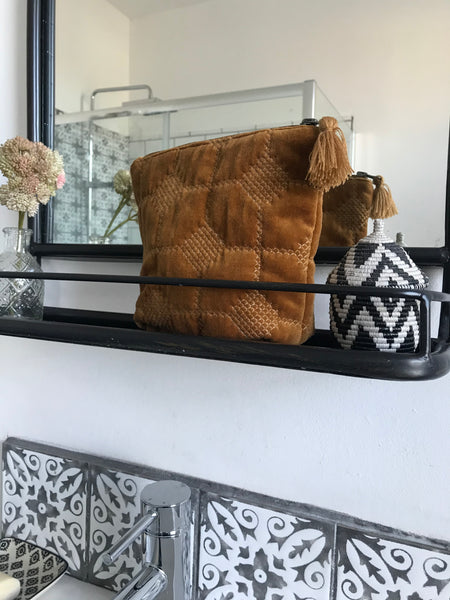 Embroidered Velvet cosmetic bag -sml mustard