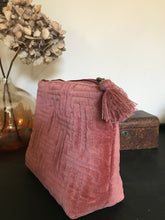 Embroidered Velvet cosmetic bag - large pink