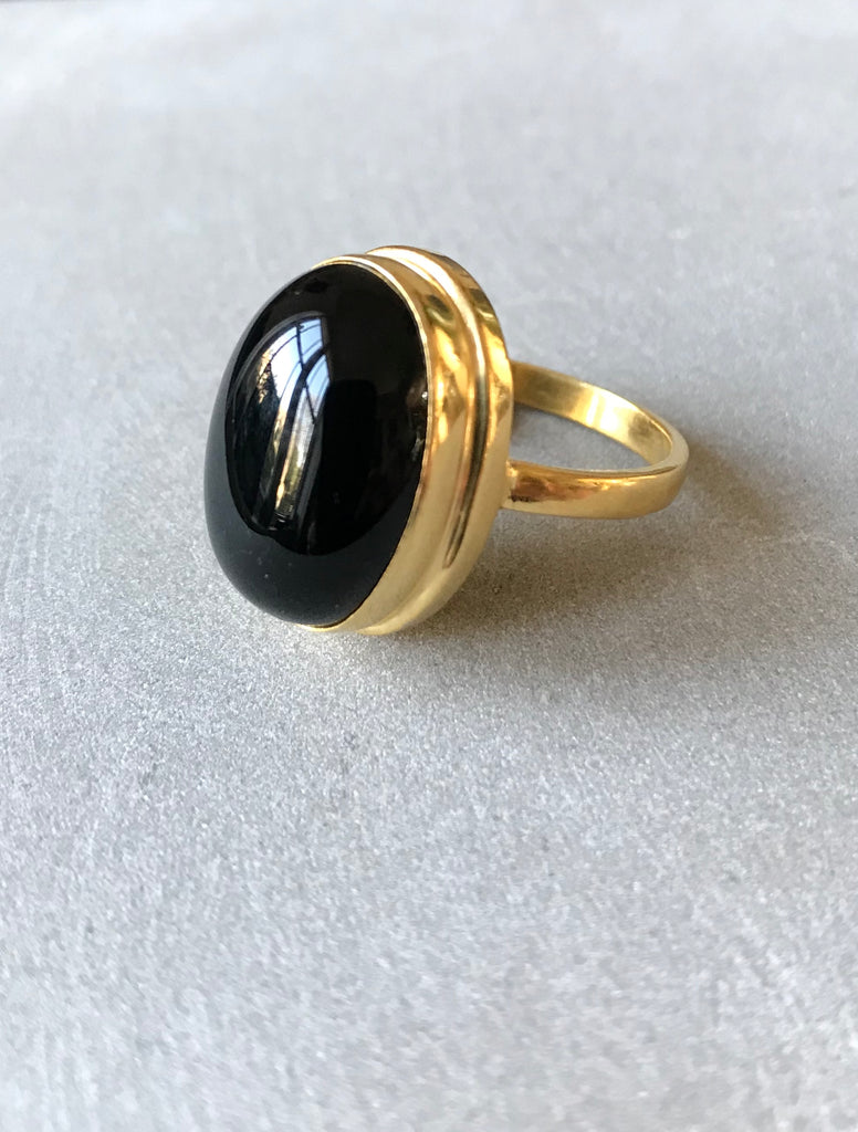 Black Onyx Ring - Gold plated