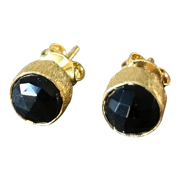 CollardManson 925 Silver Black Onyx Brushed Studs - Gold