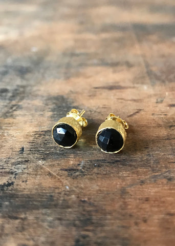 925 Silver Black Onyx Brushed Studs - Gold