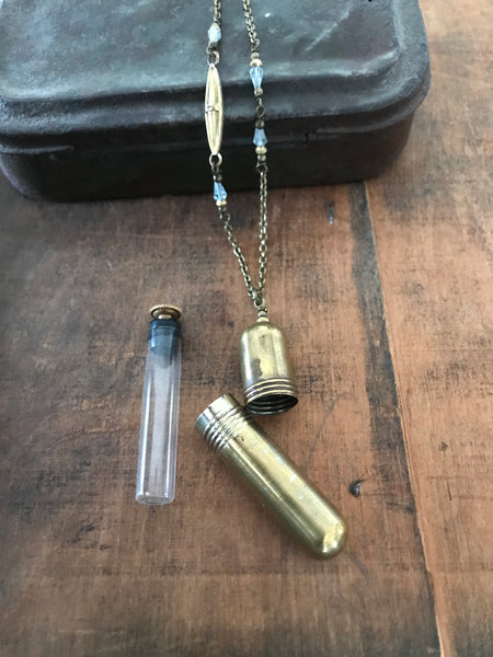 Vintage brass needle case necklace