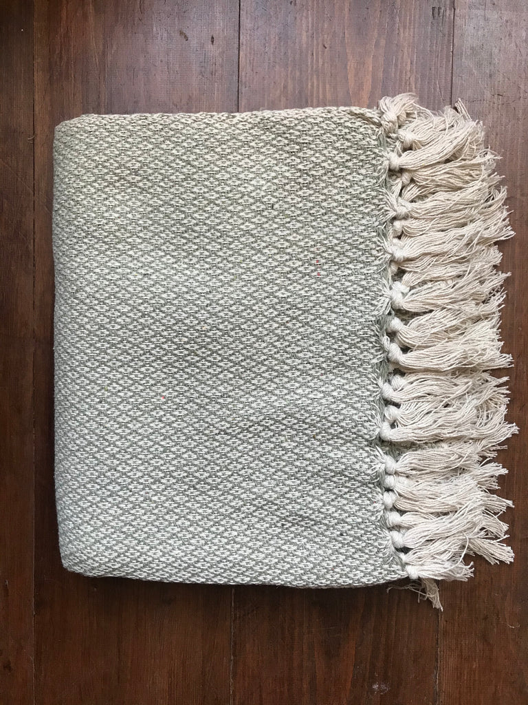 Cotton Throw- sage diamond