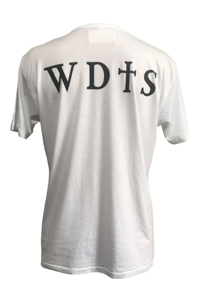 WDTS bamboo white t shirt logo on back