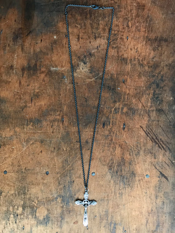 Oxidised 925 Silver ornate crucifix necklace
