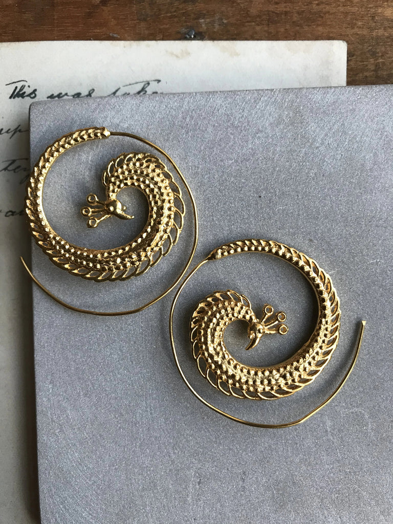 Gold plated 925 Silver Peacock earrings