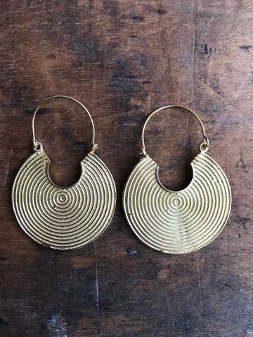Gold plated 925 Silver round nomadic earrings