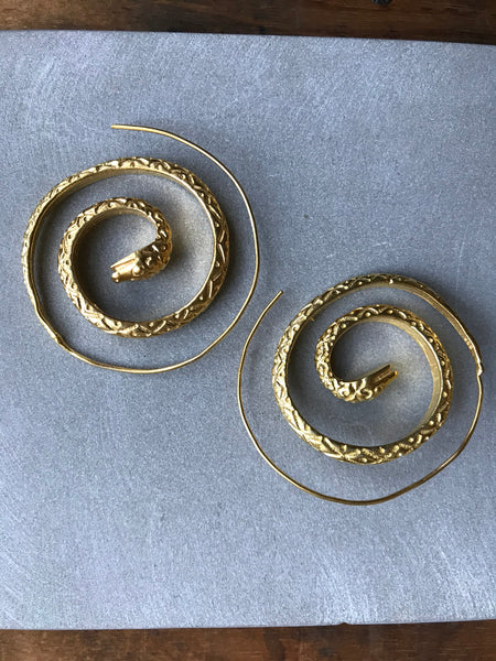 Gold plated 925 Silver Snake spiral earrings
