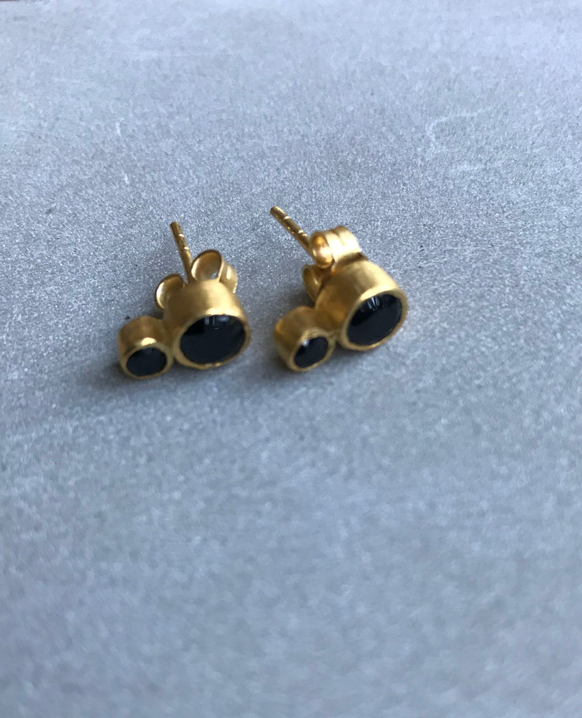 Gold plated Double onyx Earrings